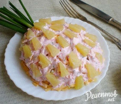 рецепт салата ананас огурец