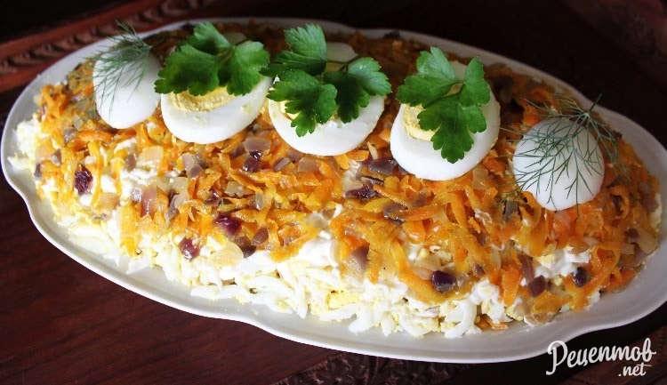 Рецепт салата лисья шуба с рыбой
